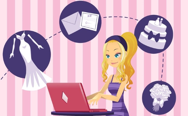Bride to be searching for wedding websites on Google