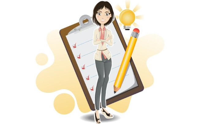 Business woman taking marketing action