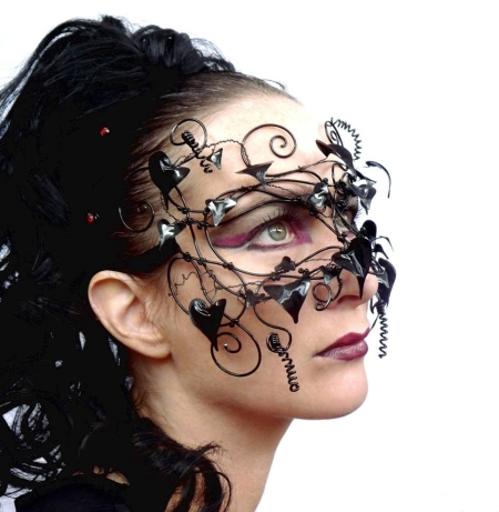 Black mask with wire and leaves